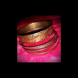 "Jewelry - ""Love"" Brass Bangle Set"